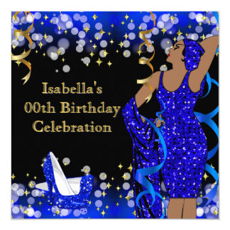 Retro Lady Blue Gold Glitter High Heels Birthday Card