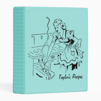 Retro Lady Cooking Mint Green Personalized Recipe Mini Binder