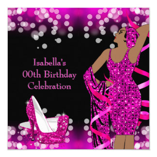 Retro Lady Hot Pink Glitter High Heels Birthday Card