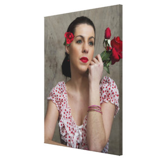 Retro Lady in Red - Wrapped around in Canvas Stretched Canvas Prints