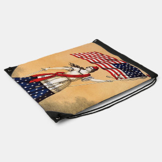 retro lady liberty drawstring bag
