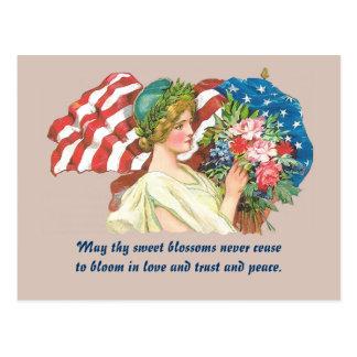 retro lady liberty postcard art