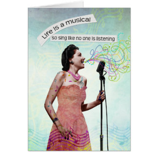 Retro Lady Life Is A Musical Sing Notecard Greeting Card