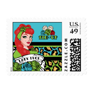 Retro, Lady Luck, Pin-up Girl - Postage, Stamps