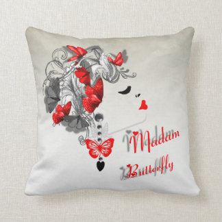 Retro Lady Madam Butterfly Red Fashion Pillows