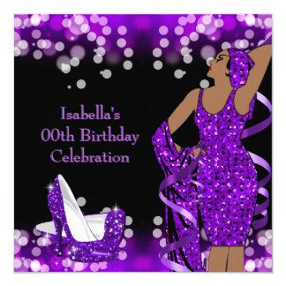 Retro Lady Purple Glitter High Heels Birthday Card