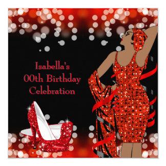 Retro Lady Red Glitter High Heels Birthday Party Card