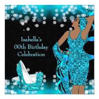Retro Lady Teal Glitter High Heels Birthday Party Card