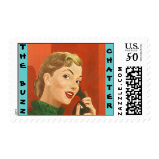 "Retro Lady ""The Buzz"" Catching-Up Stationery Stamp"