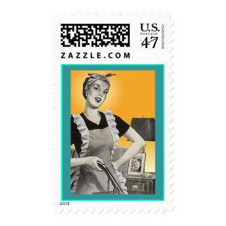 Retro Lady w/ Vacuum Apron Fashion Postage Stamps