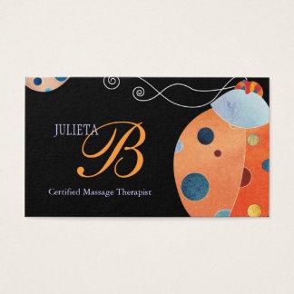 Retro Ladybug Unique Monogram Business Cards