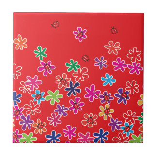Retro Ladybugs and flowers Ceramic Tile