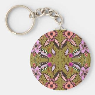 Retro Ladybugs & Stitched Flower Pattern Keychain