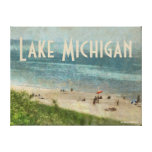 Retro Lake Michigan Beach Premium Wrapped Canvas Canvas Print