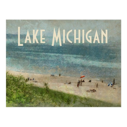 retro lake michigan shoreline beach postcard