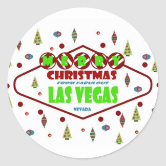 Retro Las Vegas Christma Sticker