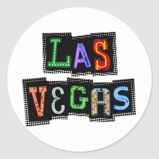 Retro Las Vegas Neon Classic Round Sticker