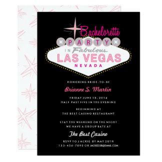 Retro Las Vegas Sign Pink Black Bachelorette Party Card