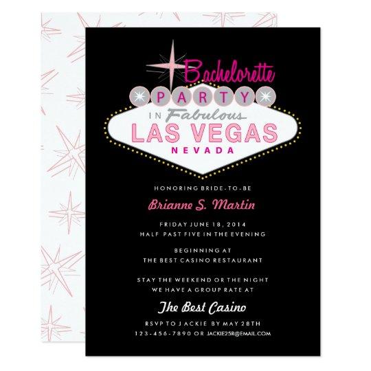 Retro Las Vegas Sign Pink Black Bachelorette Party Invitation