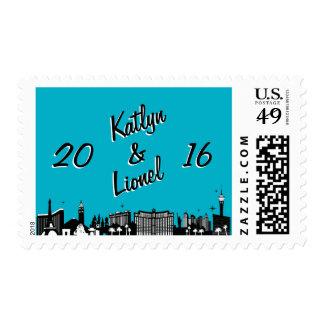 Retro Las Vegas Skyline Wedding Postage Stamp