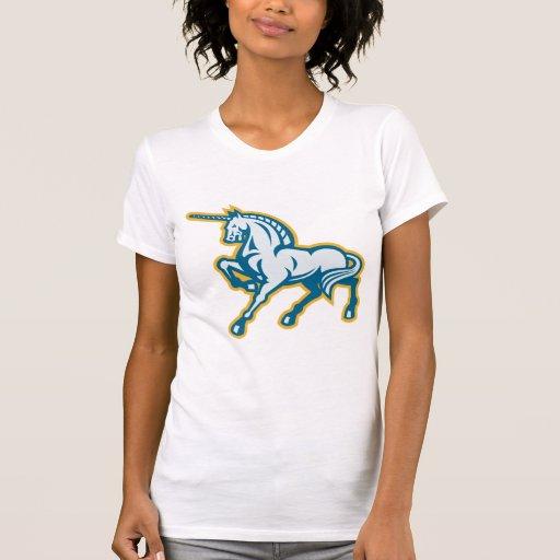 Retro lateral Prancing del unicornio Camiseta