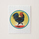 Retro lateral que marcha del pollo del gallo puzzles con fotos