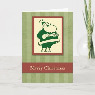 Retro Laughing Santa Christmas card card