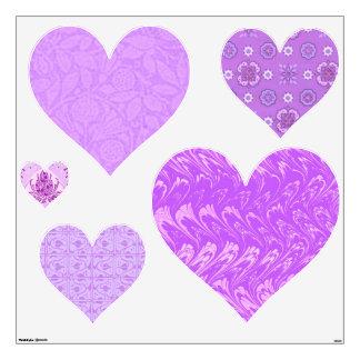 Retro Lavender Hearts Heart Wall Decals