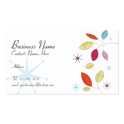 Retro Leaves Business Card