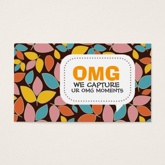 Retro Leaves Pattern Business Card
