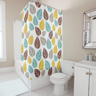 Retro Leaves Pattern Fall Colors Shower Curtain