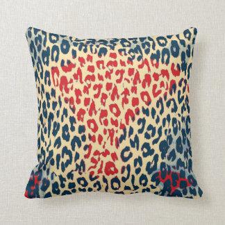 Retro Leopard Print Skin (Red, Blue, Cornsilk) Throw Pillow