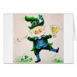Retro Leprechaun, Pipe & Beer St. Patrick's Day Greeting Card