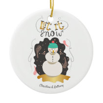 Retro Let it Snow Snowman Holiday Photo Ceramic Ornament