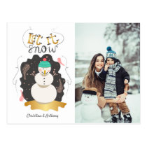 Retro Let it Snow Snowman Holiday Photo Postcard