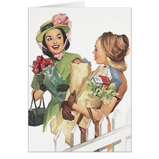 Retro Let's Get Together Go Shopping note Card