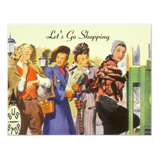 Retro LET'S GO SHOPPING Invitations City Bus Stop