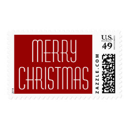 Retro Lettering Merry Christmas Postage Stamps