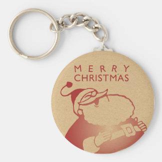 Retro Letterpress Santa Basic Round Button Keychain