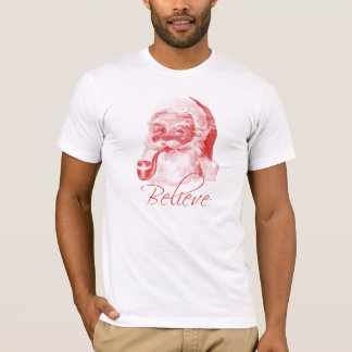Retro Letterpress Style Santa with Pipe (Believe) T-Shirt