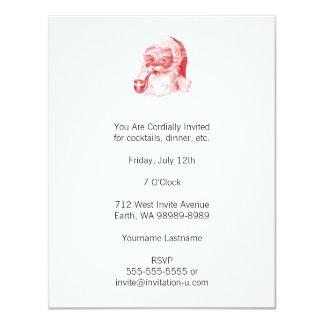 Retro Letterpress Style Santa with Pipe 4.25x5.5 Paper Invitation Card