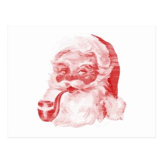 Retro Letterpress Style Santa with Pipe Postcard