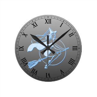 Retro Letterpress Style Witch Round Wall Clocks