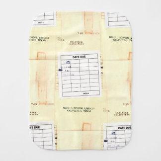 Retro Library Book Date Due Card Baby Burp Cloth
