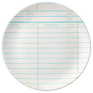 Retro Library Book Date Due Card Dinner Plate