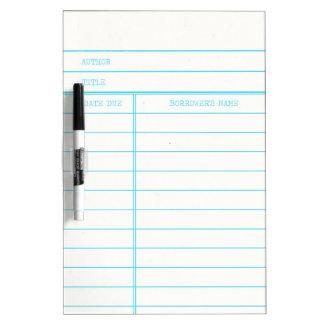 Retro Library Book Date Due Card Dry-Erase Board