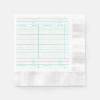 Retro Library Book Date Due Card Napkin