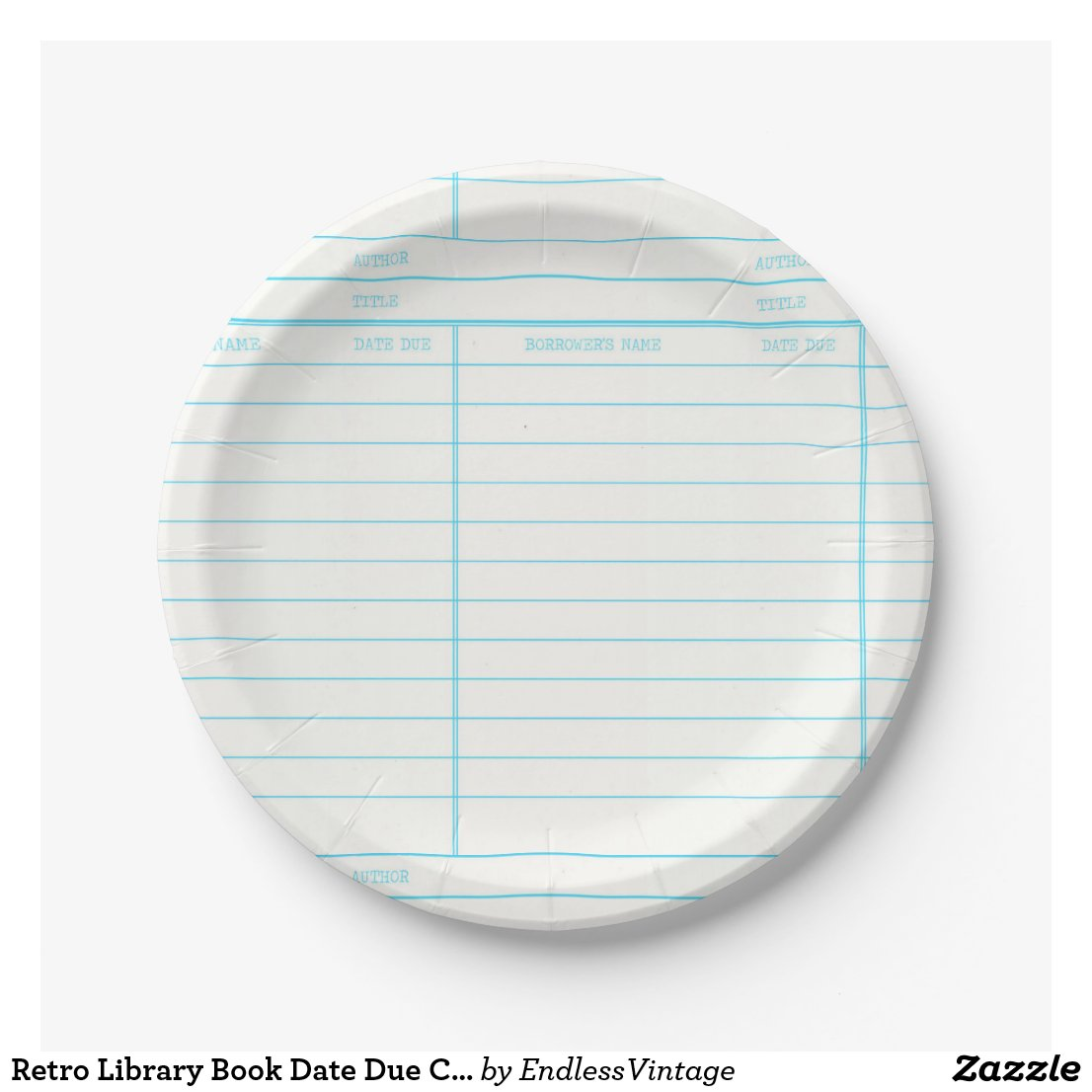 Retro Library Book Date Due Card Paper Plate