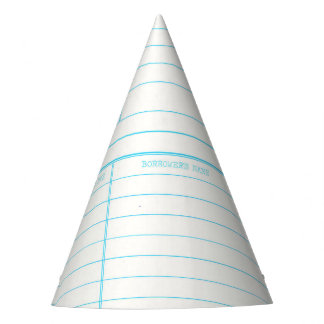 Retro Library Book Date Due Card Party Hat