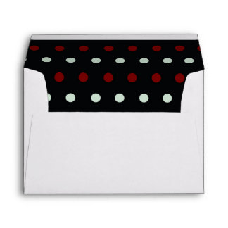 Retro light blue and red polka dots pattern envelope